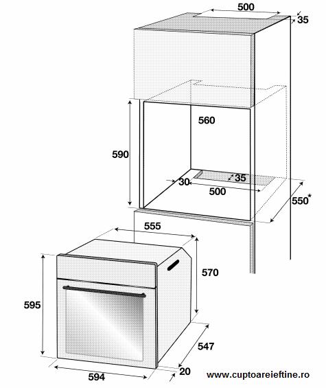 dimensiuni cuptor incorporabil Beko OIM 25501X