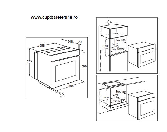 dimensiuni cuptor incorporabil Electrolux EOA3400AOX