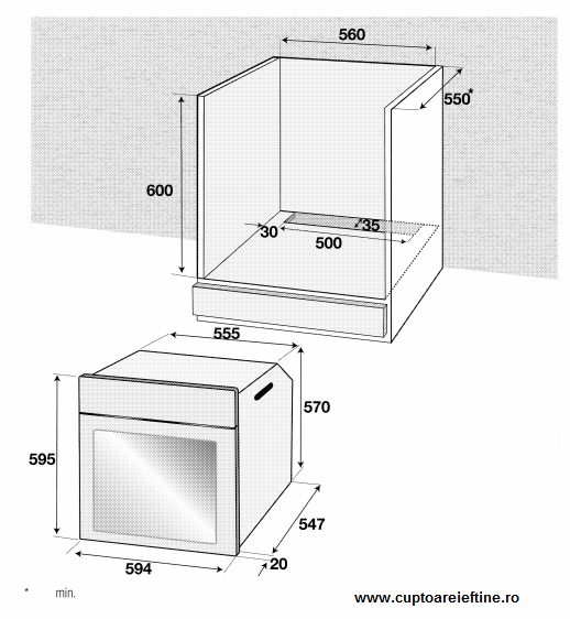 instalare cuptor incorporabil Arctic AROIE21300C