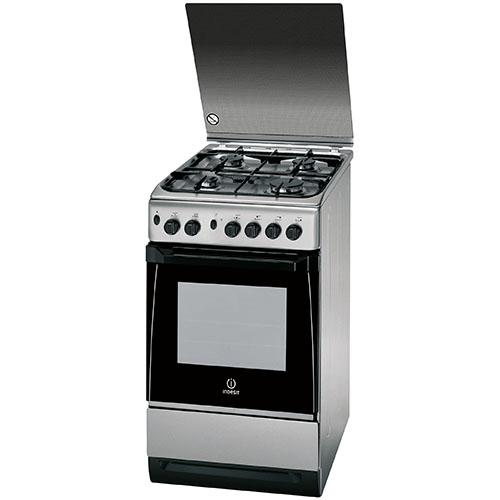 Aragaz Indesit KN3G21S-X, 4 arzatoare gaz, grill, rotisor, aprindere electrica, 50 cm, inox