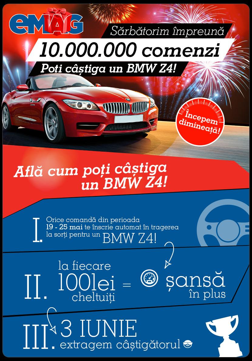Super promotie EMAG – vezi cum poti castiga un BMW Z4, in perioada 19-25 mai