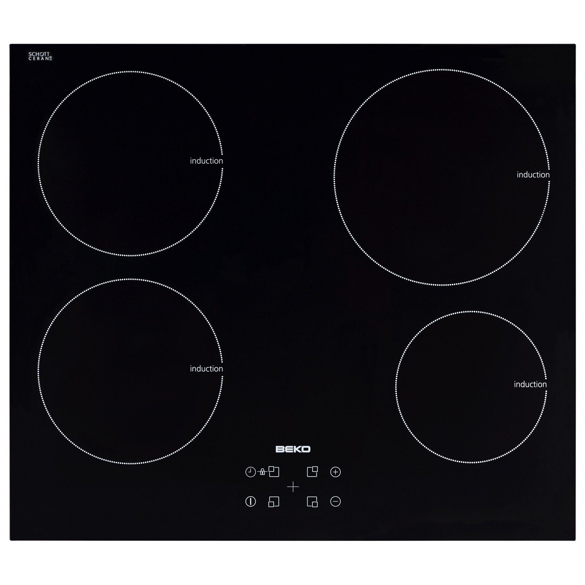 Plita incorporabila Beko HII64400AT, Inductie, 4 Zone, 60 cm, Sticla neagra