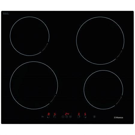 Plita incoporabila Hansa BHI68368, Inductie, 4 zone de gatit, Timer, Sticla neagra