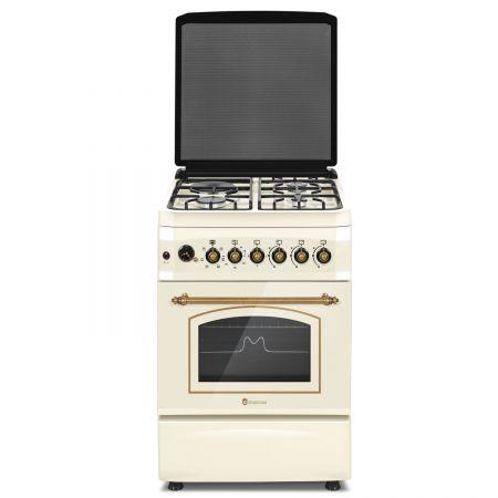 Aragaz rustic Studio Casa MULTIF. PLUS FE60/603G+1EL, cuptor electric multifunctional cu ventilatie, 3 arzatoare gaz + 1 ochi electric